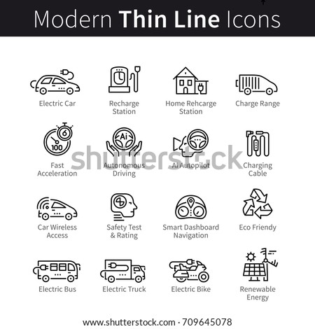 Electric car and eco transport: bike, truck, bus. Vehicles, charging stations, autonomous driving, navigation, safety test, renewable energy. Modern thin line art icons set. Linear style illustrations