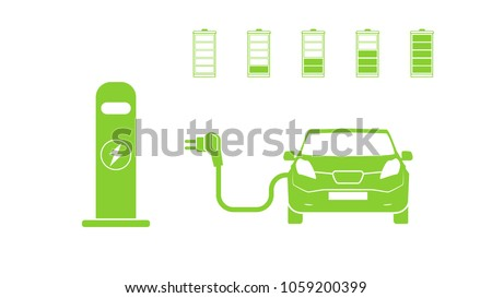Electric car and Electrical charging station symbol. Electric car icon isolated. Electric Vehicle Charging Station road sign template with set of icons. Vector illustration