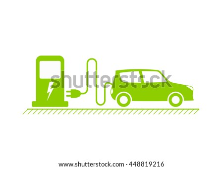 Electric car and Electrical charging station symbol, Vector illustration