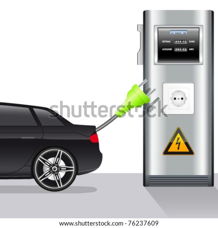 electric car and power station - vector illustration