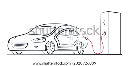 Electric car at charging station with connected cable on white background. Electric car concept. Foto stock ©