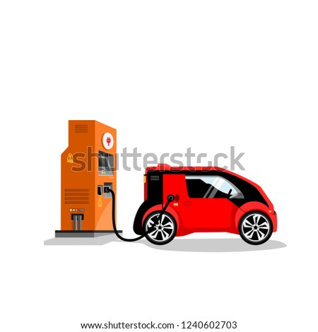 Electric car battery charger vector.