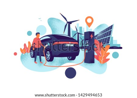 Electric car charging at charger station with a young man. Renewable power generation with wind turbines and solar panels and city skyline. Isolated vector illustration concept grainy noise style.