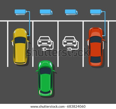 Electric car charging at ev power station. Parking at charging station. Electric vehicle getting energy. Top view. Flat style. Vector illustration. Stock photo ©