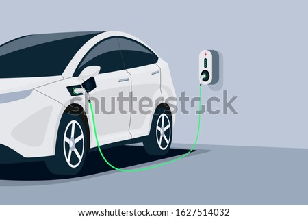 Electric car charging. Car is plugged to charger station in underground home garage . Battery EV vehicle standing parking lot connected to wall box. Close up vector being charged with power supply socket.  Stockfoto ©