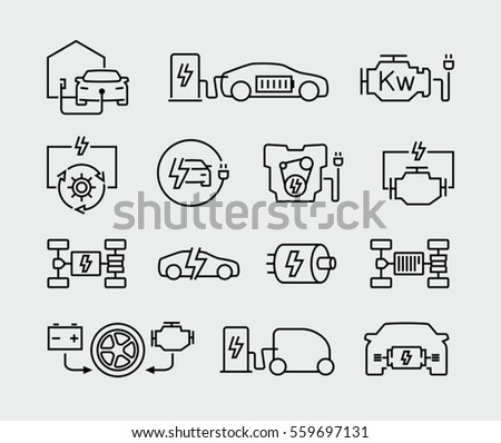 Electric car charging, engine, battery vector line icons