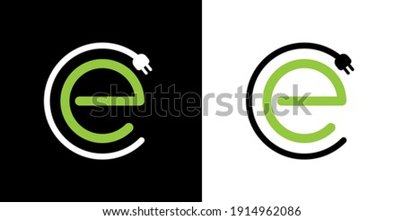 Electric Car Charging Logo for EV Electric Vehicle Chargers. Green E Vector Logo Template with Car Charging Plug for Hybrid Eco Friendly Automobiles