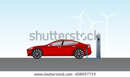 electric car charging on