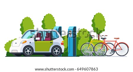 Electric car charging outside at refuelling power station. Bikes on a bicycle parking. Modern technology and environment care concept. Flat style vector illustration isolated on white background. #649607863