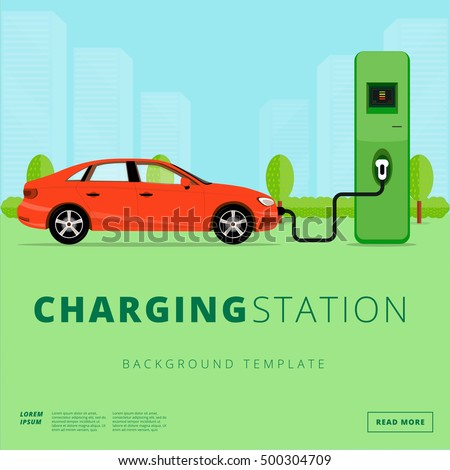 Electric car charging station concept. EV recharging point or EVSE. Plug-in vehicle getting energy from battery supply. #500304709