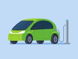 Electric car charging. Vector flat design illustration