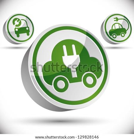 electric car 3d vector icon