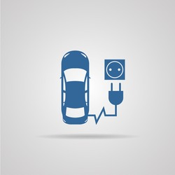 electric car, electric vehicle, refill icon isolated on background. vector illustrations