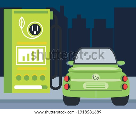 electric car electromobility station charging ecology zone vector illustration Stock photo ©