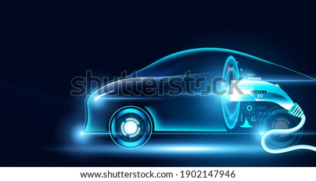 Electric car Future Power In the illustration with electric cars And charger.