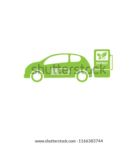 Electric car icon on white background