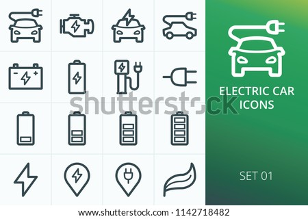Electric car icons set. Set of electric car, charging cable plug, charging station for e-car, battery levels vector icons #1142718482