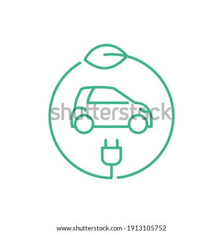 Electric car in a circle with a leaf and a plug. Hybrid vehicle charging station sign. Green energy zero emission concept. Eco friendly vehicle. Thin line icon. Vector illustration, flat, clip art. Foto stock ©