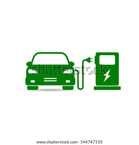 Electric car in refill icon, vector. Electric refueling. Eco transportation.