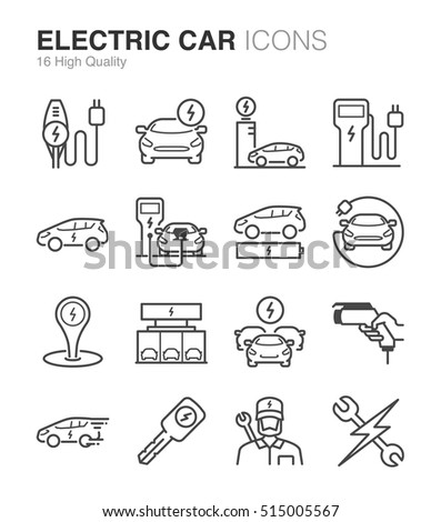 Electric Car line icon set. Included the icons as battery, charger, station, socket, automobile , rechargeable and more. #515005567