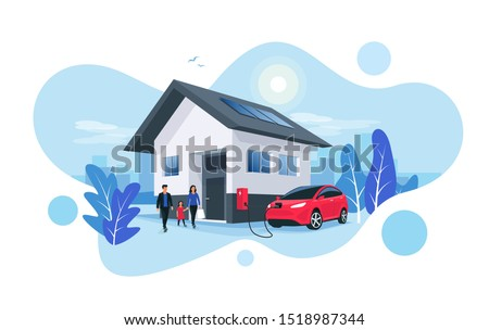 Electric car parking charging at home wall box charger station on house with a family. Renewable energy storage with solar panels and smart city skyline in background. Vector illustration.