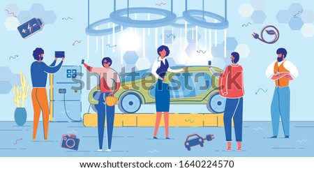 Electric Car Presentation with People Cartoon Characters - Automobile Exhibition Visitors and Manufacturers Producing Ecological Transport. Ecology and Saving Environment. FLat Vector Illustration. stock photo