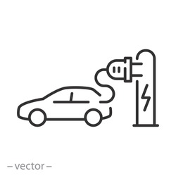 electric car pump icon, charging at the charger station, auto hybrid plug, concept green energy, thin line web symbol on white background - editable stroke vector illustration eps10 d