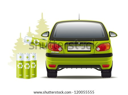 Electric car recharges. Illustration of a renewable source of energy to propel the vehicle.