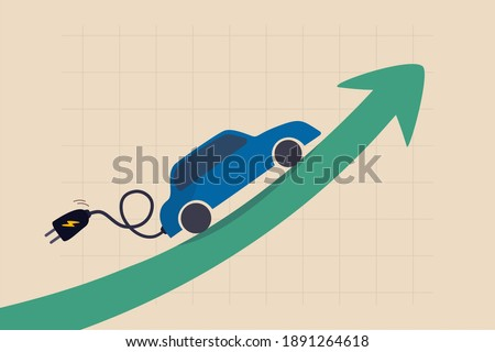 Electric car stock pice soaring, EV, electric vehicle earning and profit increase in new economy stock market concept, Electric car with plug-in cruising on rising up green stock market arrow graph.