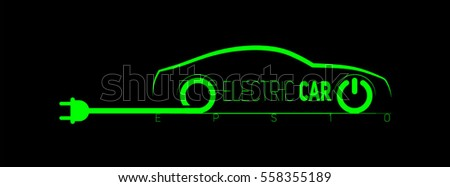 electric car symbol with wire