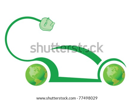 Electric car technology concept isolated on white background