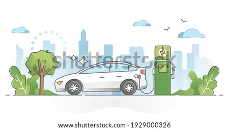 Electric car usage and green electricity energy consumption outline concept. Motor type with plug in socket as environmental and nature friendly power alternative to fuel vehicles vector illustration.
