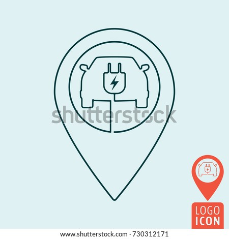Electric car with map pin icon. Electrical cable plug charging station symbol. Vector illustration.