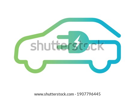 Electric car with plug icon symbol, EV car, Green hybrid vehicles charging point logotype, Eco friendly vehicle concept, Vector illustration Foto stock ©
