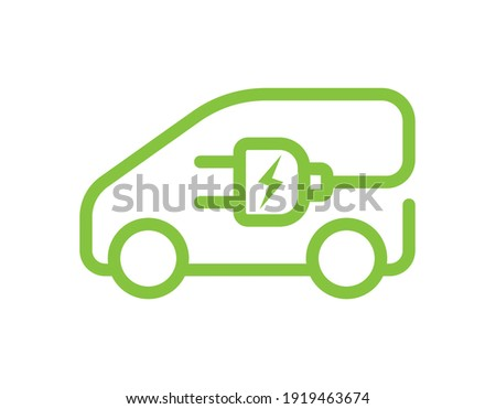Electric car with plug icon symbol, EV car, Green hybrid vehicles charging point logotype, Eco friendly vehicle concept, Vector illustration