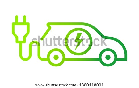 Electric car with plug icon symbol, Green hybrid vehicles charging point logotype, Eco friendly vehicle concept, Vector illustration