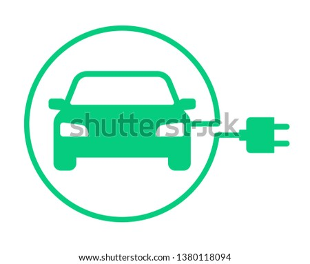 Electric car with plug icon symbol, Green hybrid vehicles charging point logotype, Eco vehicle concept, Vector illustration