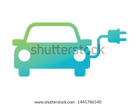 Electric car with plug pictogram icon symbol design, Hybrid vehicles charging point logotype, Eco vehicle concept, Vector illustration