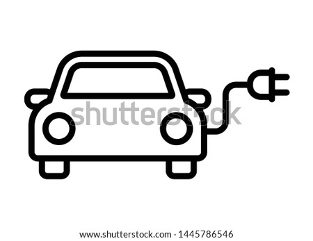 Electric car with plug pictogram outline icon symbol design, Hybrid vehicles charging point logotype, Eco vehicle concept, Vector illustration