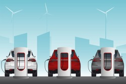 Electric cars are charged from charging stations. Vector illustration