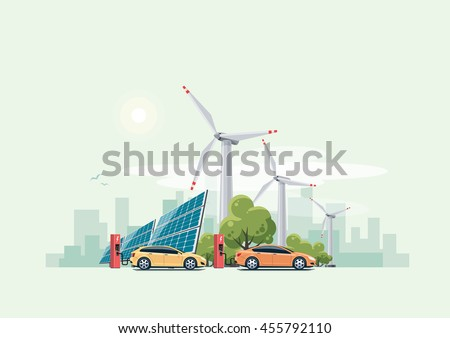 electric cars charging at the