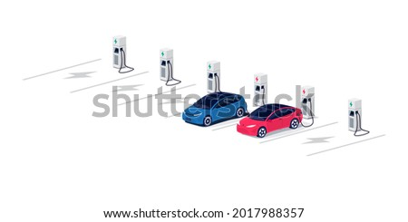 Electric cars charging on empty parking lot area with fast supercharger station and many free charger stalls. Vehicle on electricity network grid. Isolated flat vector illustration on white background Stockfoto ©