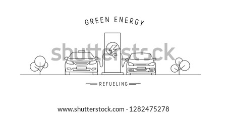 electric charge station with electric cars, linear illustration with green energy text