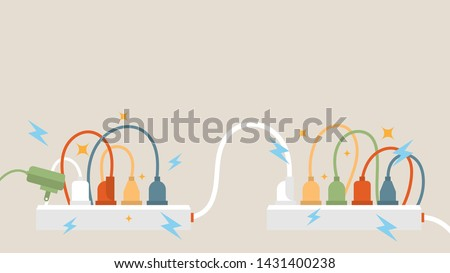 Electric circuit overload and power strip safety, short circuit from full plug in 5-outlet power strip. Dangerous from short circuit peripheral.