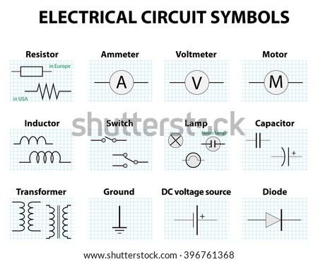 electronic circuit symbol vectors download free vector art stock rh vecteezy com Electrical Symbols PDF schematic symbols circuit
