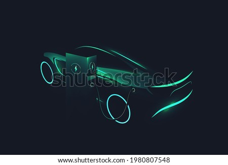 Electric concept car green glowing silhouette charging at charge station on dark background. Ev concept. Vector illustration
