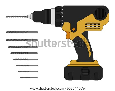 Electric drill and bits. Cordless battery construction hand drill tool illustration isolated on white. Vector