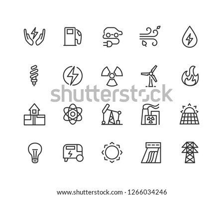 Electric energy linear icons set. Electricity. Power generation and accumulation. Thin line contour symbols. Isolated vector outline illustrations. Editable stroke 48x48 Pixel Perfect.