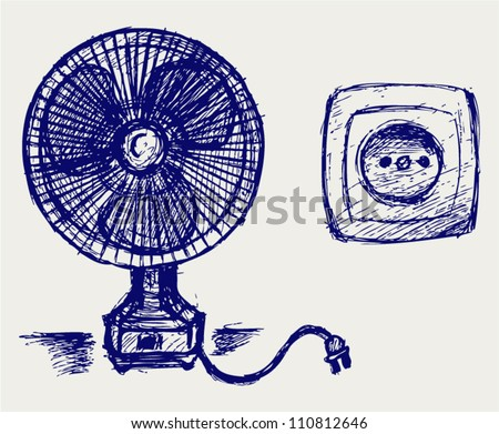 Electric fan and socket. Doodle style