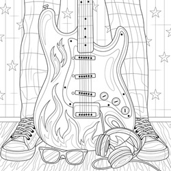 Electric guitar and feet.Coloring book antistress for children and adults. Illustration isolated on white background.Zen-tangle style. Hand draw
